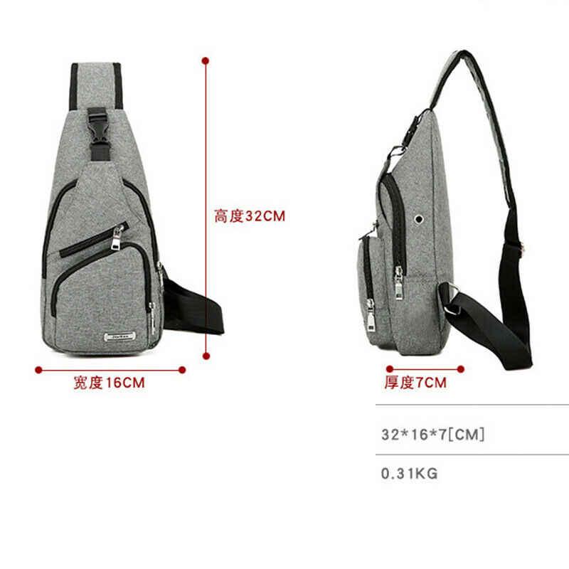 2019 Mais Recente Moda dos homens Bolsa de Ombro Sling Peito Pacote de Carregamento USB Esportes venda Quente Bolsa Crossbody