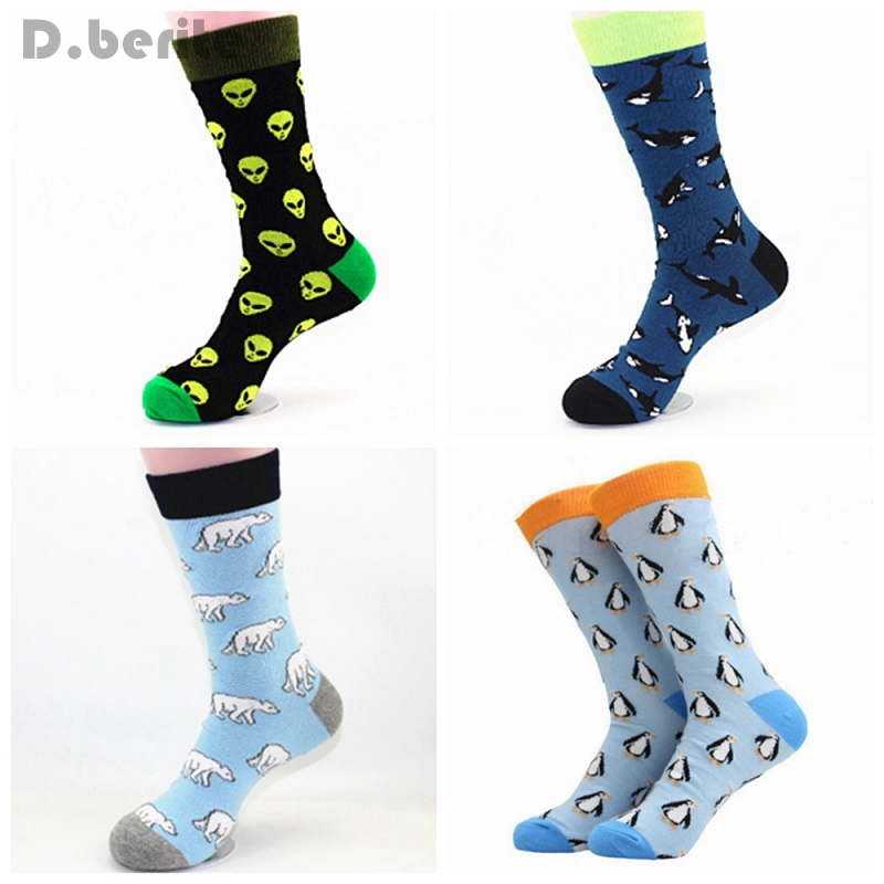 NEW Mens Cotton Socks Quality Animal Alien Bear Autumn Colorful Pattern Funny Happy Dress Party Gift Sock GQY9012