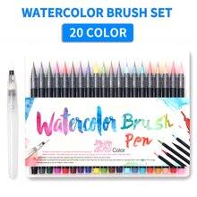 Ensemble de pinceaux pour peinture à leau, 20 couleurs, cheveux en Nylon, brosse souple à pointe avec 1 pièce pour calligraphie, stylo marqueur