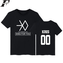 LUCKYFRIDAY EXO Stile Manica Corta Tee Shirt Da Uomo Divertente Estate moda Hip Hop T-Shirt In Cotone EXO Kpop Nero 4XL Tshirt donne(China)