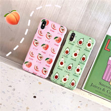 цена на Cute Fruit Avocado Case For iPhone X XS Max XR Soft IMD Full Back Cover For iphone 8 7 6S Plus Yummy Pink Peach Pattern Funda