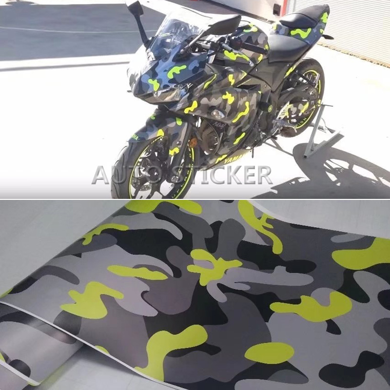 Yellow Black Camouflage Vinyl PVC Car Sticker Wrap Film Camo Gray Decal For Auto Motorcycle DIY