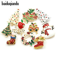 baiduqiandu Enamel Snowman Santa Tree Brooch Pin Christmas Gifts Jingle Bell Boots Brooches Charm Crystal Christmas Gift(China)