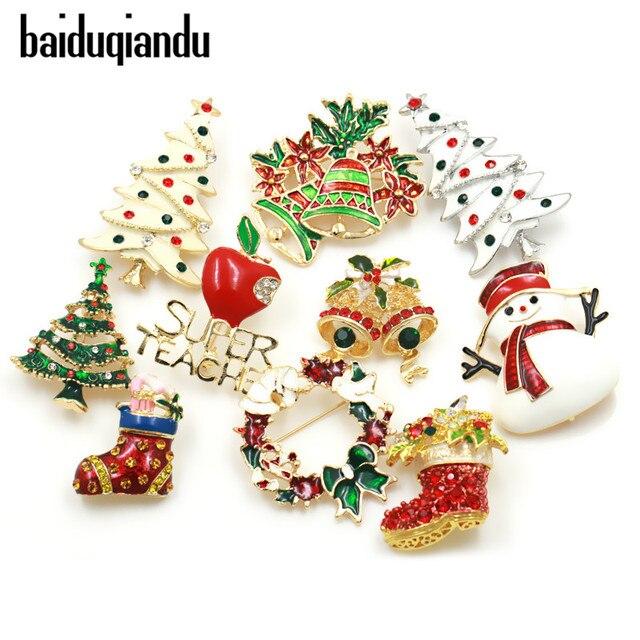 baiduqiandu Enamel Snowman Santa Tree Brooch Pin Christmas Gifts Jingle Bell Boo