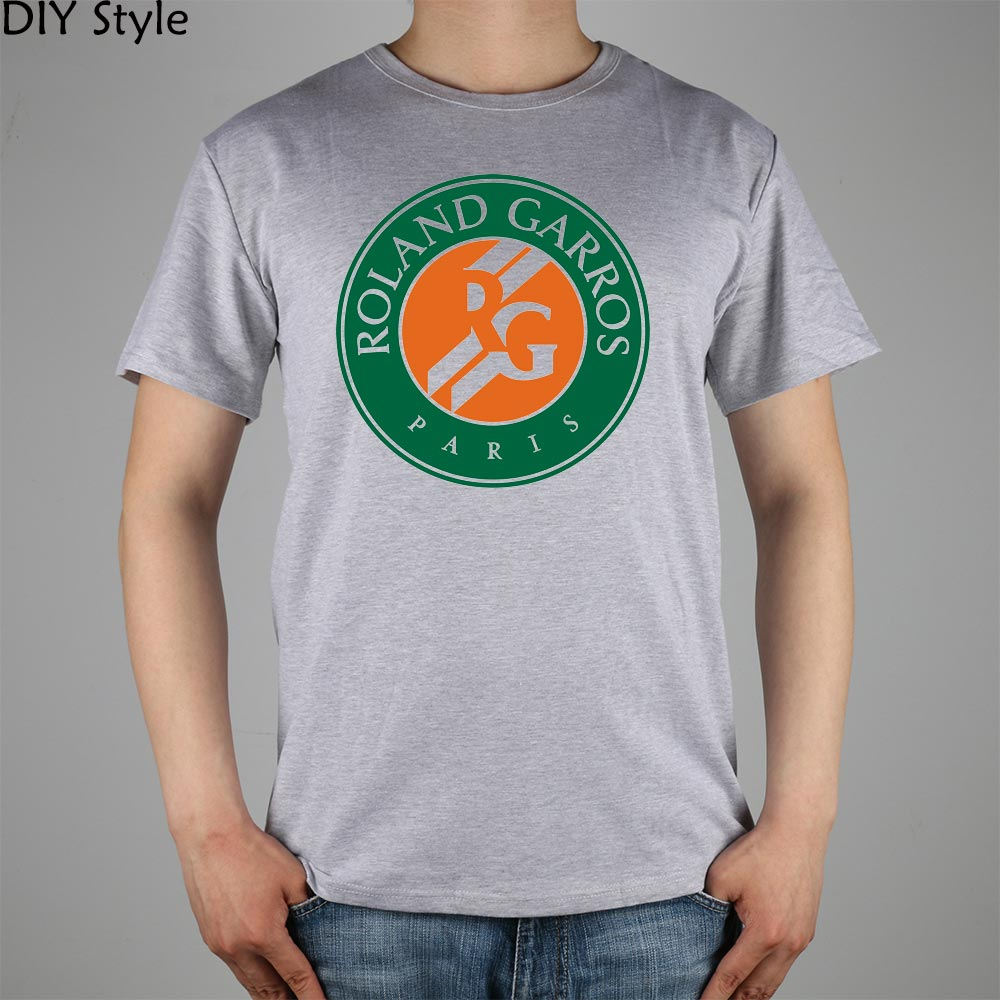 Roland Garros French paris Open   T  -  shirt   Top Lycra Cotton Men   T     shirt   New Design High Quality Digital Inkjet Printing