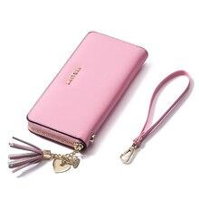 Luxus Marke Kuh Echtes Leder Geldbörse Bunte Frauen Rosa Brieftaschen Quaste Anhänger Damen Lange Brieftasche Weibliche Geldscheinklammer Geldbörsen