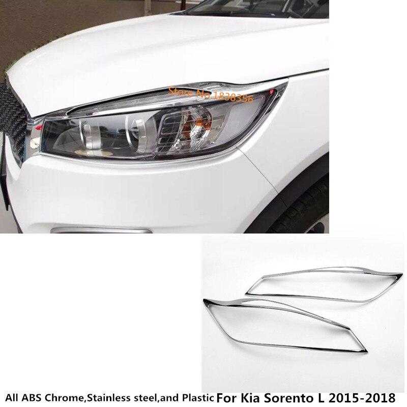 Pro Kia Sorento L 2015 2016 2017 2018 Tělo karoserie přední hlava Lehký kryt světlometu Formovací rámová tyč ABS Chrom krycí obložení 2ks