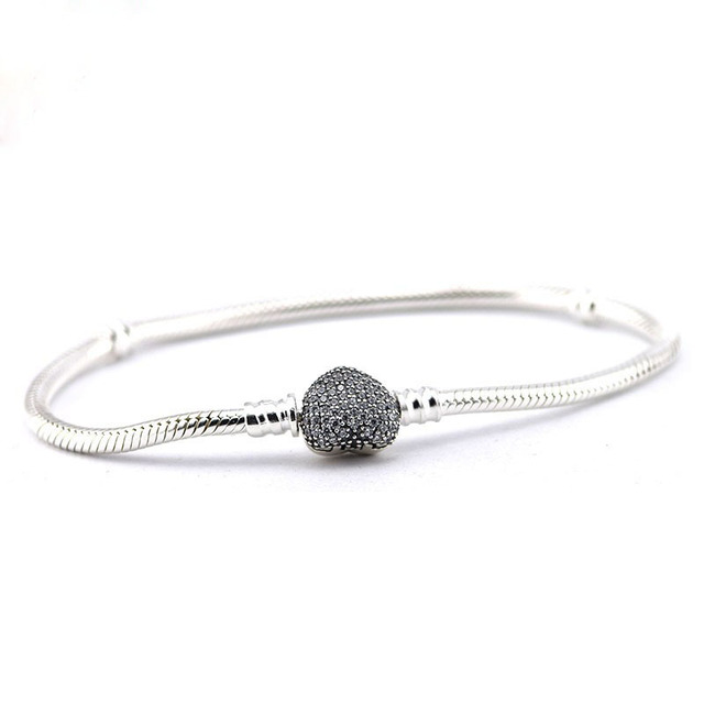 Compatible with European Jewelry 100%925 Sterling Silver Jewelry Moments Silver Bracelets with Pave Heart Clasp DIY making