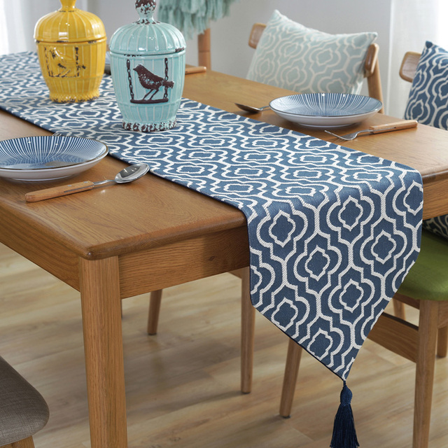 Superbe European Style Vintage Coffee/Blue/Green Table Runner With Tassel Home  Decor Bed Runner
