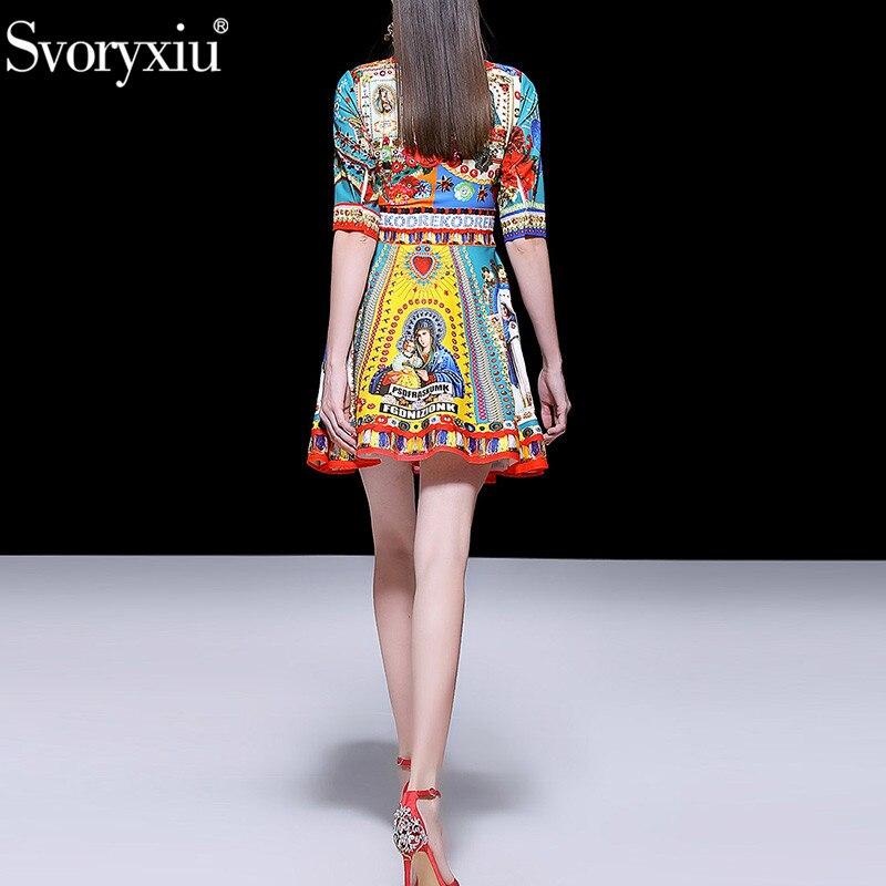 Svoryxiu printemps été piste Mini robe femmes mode 3/4 manches lettre Madonna fleur imprimer mince ceinture robes Vestdios-in Robes from Mode Femme et Accessoires    3