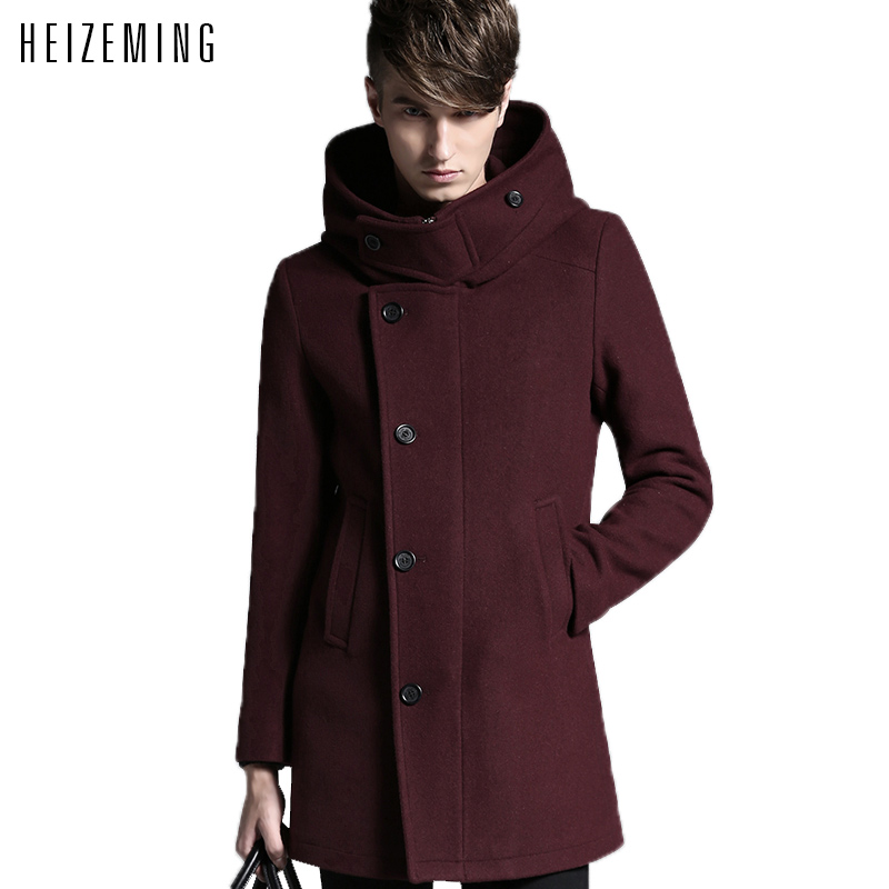 2016 Special Offer Limited Sobretudo Mens Pea Coat Size M-xxl Blackblue Men Winter Warm Brand Wool Blends Jacket Slim Coat