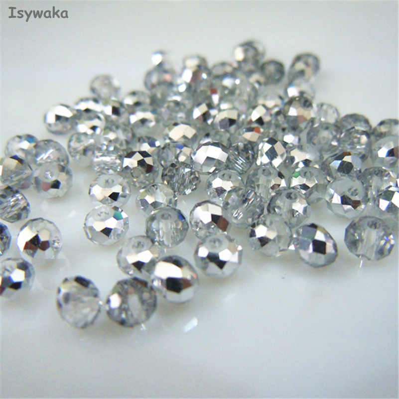 Isywaka Silver White Color 3*4mm 145pcs Rondelle Austria faceted Crystal Glass Beads Loose Spacer Round Beads for Jewelry Making