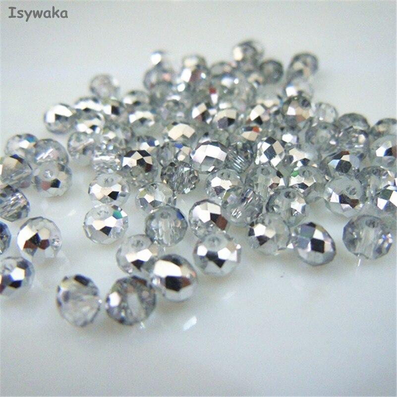 Isywaka серебро белый цвет 3*4 мм 145 шт. Rondelle Австрия граненый кристалл стекло бусины Свободные Spacer Круглые бусины для изготовления ювелирных изделий