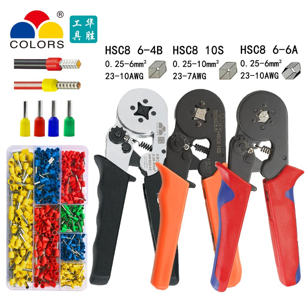 Tubular Terminal Crimping Pliers HSC86-4A / 6-6A 0.25-6mm2 HSC810S 0.25-10mm2 23-7AWG Quadrilateral Hexagon Cold Crimping Tool