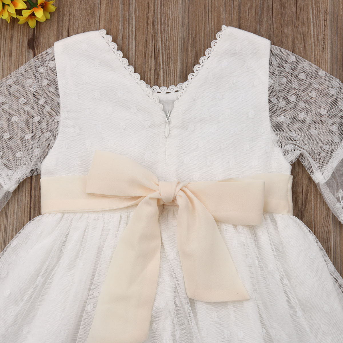 Cute Flower Lace Baby Girl Dress Princess Pageant Brides maid Evening Wedding Gown Tutu Princess Children Clothing Kids Party in Dresses from Mother Kids