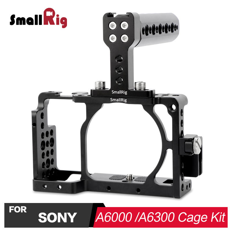 SmallRig Camera Cage Accessories Kit for Sony A6000 / A6300 / A6500 ILCE-6000/ILCE-6300/ILCE-A6500/Nex-7 With Top Handle 1921 waraxe a6 camera cage for sony ilce 6000 ilce 6300 ilce a6500 with 1 4 and 3 8 threaded holes cold shoe base free shipping