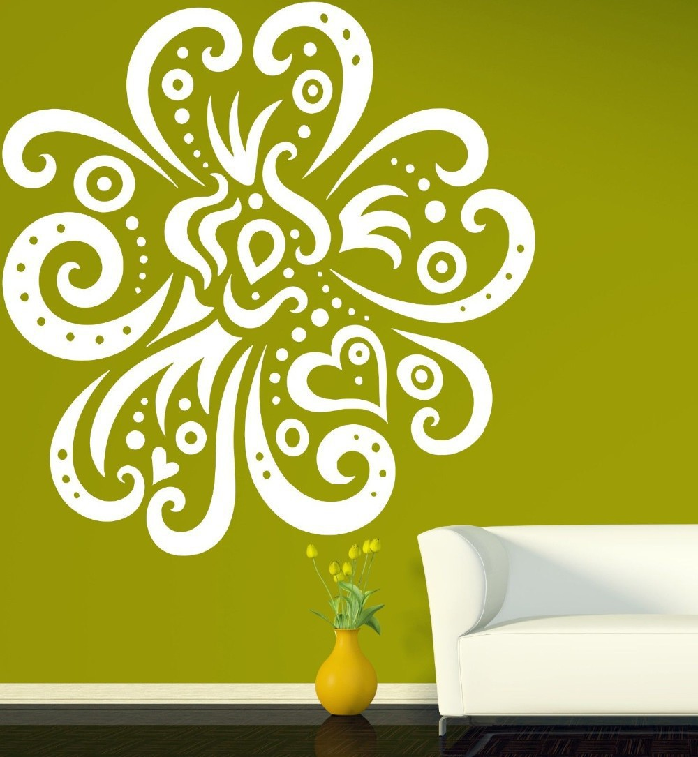 DIY Ethnic Floral Plant Wall Decals Colorful Classic Flower Wall ...