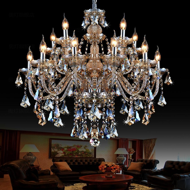 European style living room crystal chandelier restaurant bedroom lighting atmosphere home villa duplex hotel candle light