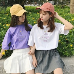 Summer korean casual loose purple Tshirt Women Letter T-shirts Printing Funny Tee Shirt For Female Top Clothes Short Sleeve Tees 5