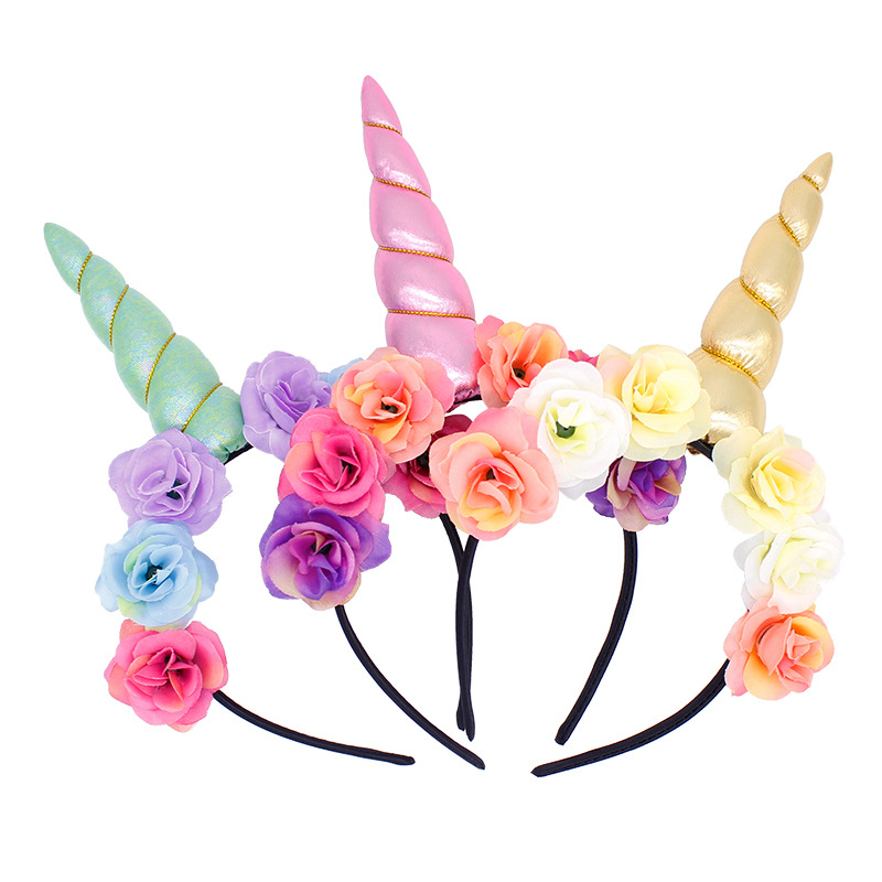 2019 New Brand Cute Kids Women Sweet Flower Unicorn Horn Hair Band Headband Birthday Party Flower Floral Headwear Crown