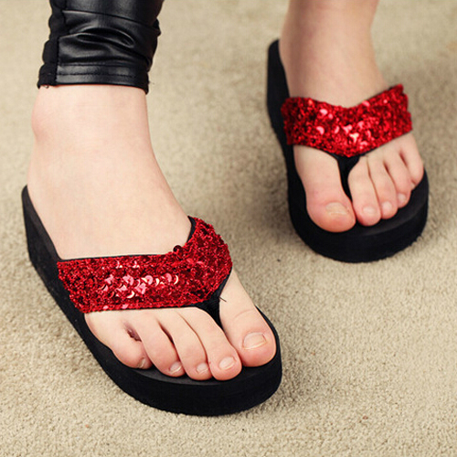 VSEN Wholesale slippers female slippers wedges platform elevator slip-resistant paillette beach flip flops size 8 red