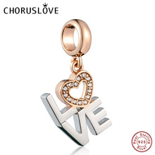Choruslove Rose Gold LOVE Heart Dangle Charm 925 Sterling Silver Bead fit Pandora Charms Valentines Day DIY Bracelet Jewelry