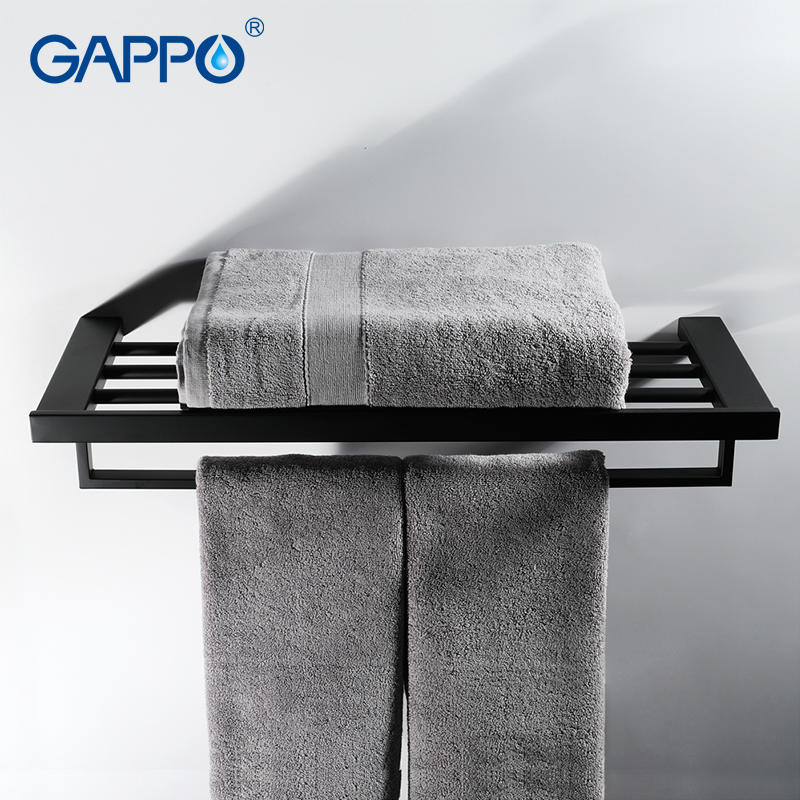 GAPPO Towel Bars black bathroom towel holder hanger rod bath hardware accessories wall mounted bath racks porte free shipping becola bathroom accessories folding movable bath towel bars surface chome towel racks b 88005