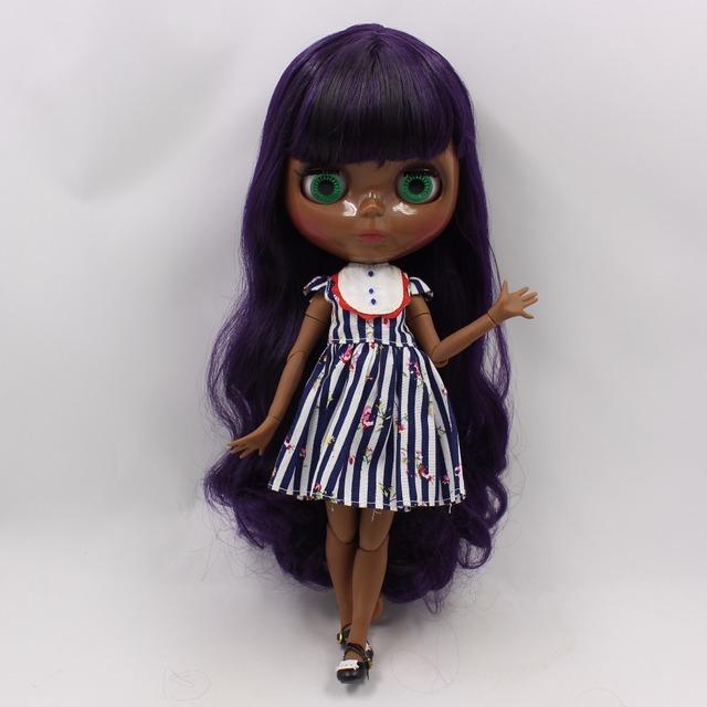 TBL Neo Blythe Doll Black Skin Deep Purple Hair Jointed Body