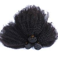 Монгольский афро странный вьющиеся волосы расширения переплетения 4B 4C 100% натуральный человеческих волос пучки 3 шт. CARA Remy