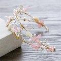 Flor de tecido Frisado Headband da Tiara Da Coroa Da Noiva Do Casamento Acessórios Para o Cabelo Hairband Jóias Bandeau Bijoux Cheveux WIGO0940 Diadema