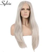 Sylvia miękki długi srebrny szary popiół platinum blonde naturalne prosto syntetyczna koronka przodu peruki żaroodporne fiber bliski przecinanie