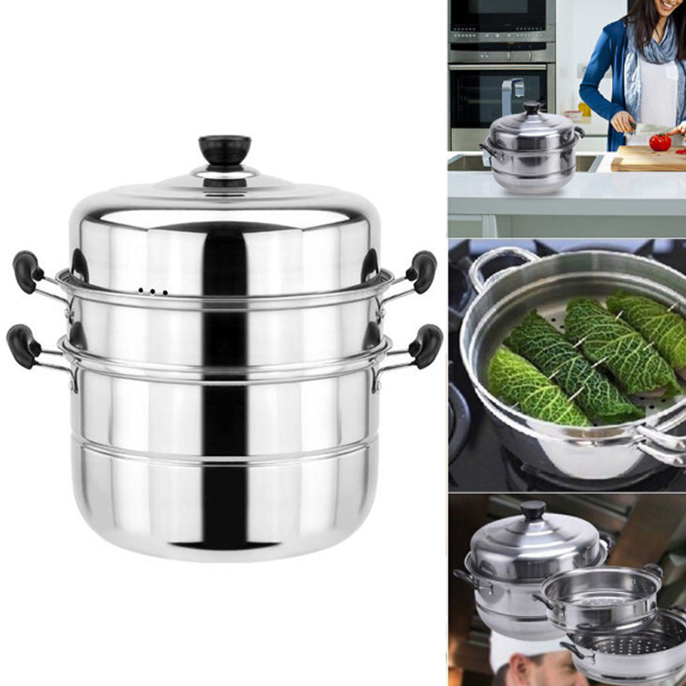 1set Stainless Steel 3 Tier Steamer Steam Steaming Pot Cookware Kitchen Tool Pan Kitchen