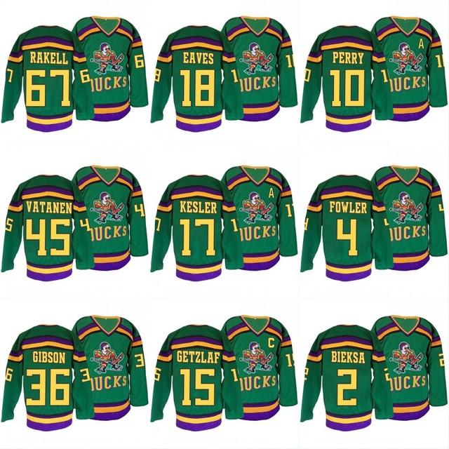 low priced 7ac66 c84ba 67 Rickard Rakell Mighty Ducks Hockey Jersey 15 Getzlaf 10 Perry 4 Fowler 2  Bieksa 18 Eaves Gibson 45 Vatanen Throwback Jersey-in Hockey Jerseys from  ...