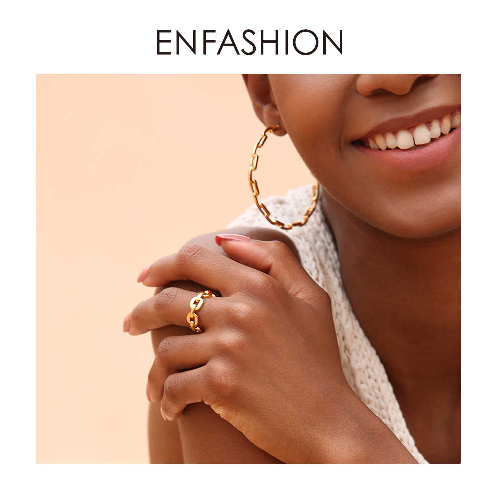 Enfashion Reine Form Link Kette Ring Männer Gold Farbe Damen Ringe Für Frauen Mode Schmuck Bague Femme Homme Ringen RF184006