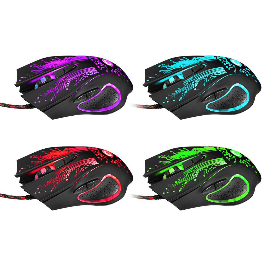 2 Models Professional Colorful Backlight 3200DPI Optical Wired Gaming Mouse Mice