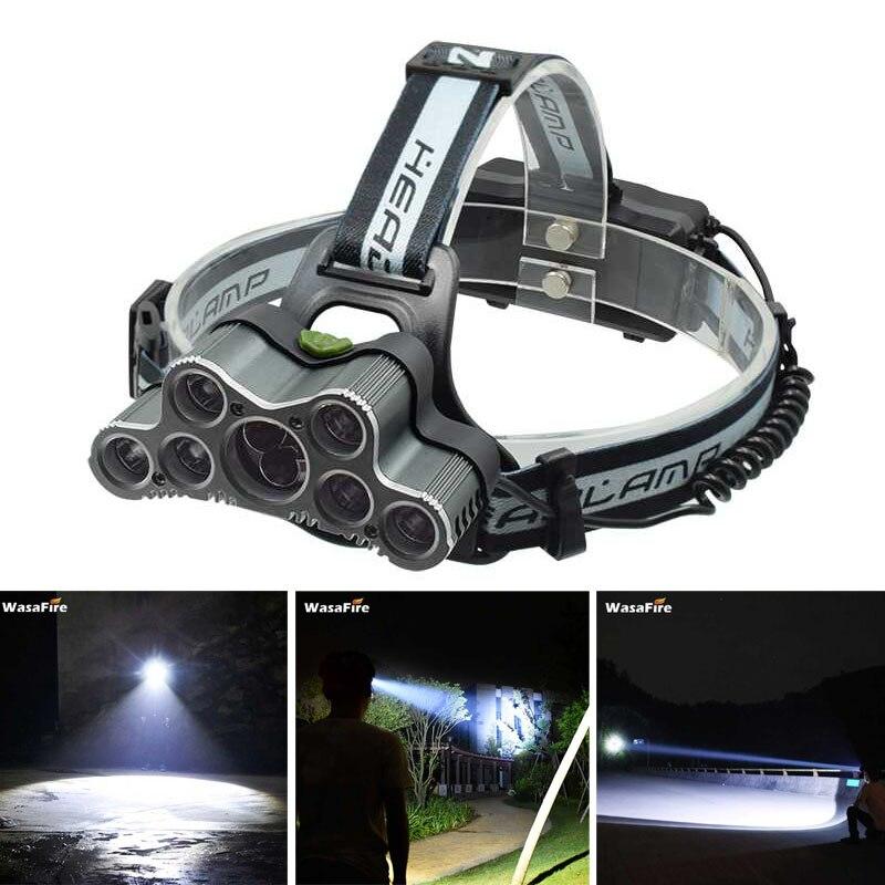 7 * XML T6 + 2 * XPE Q5 LED Projecteur 30000LM 9 LED Tête Lampe Torche Frontale Lumière USB Rechargeable Phare de Course Lampe De Poche De Pêche
