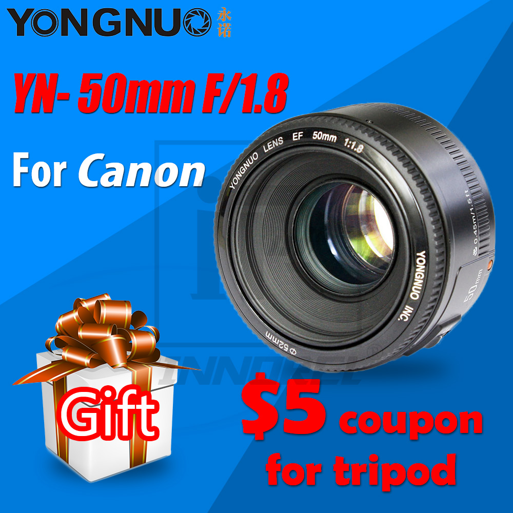 YONGNUO yn50mm F1.8 объектив с автофокусом и огромной диафрагмой для Canon DSLR камер 70d 5D Mark III полнокадровая ПОРТРЕТНАЯ ФОТОГРАФИЯ