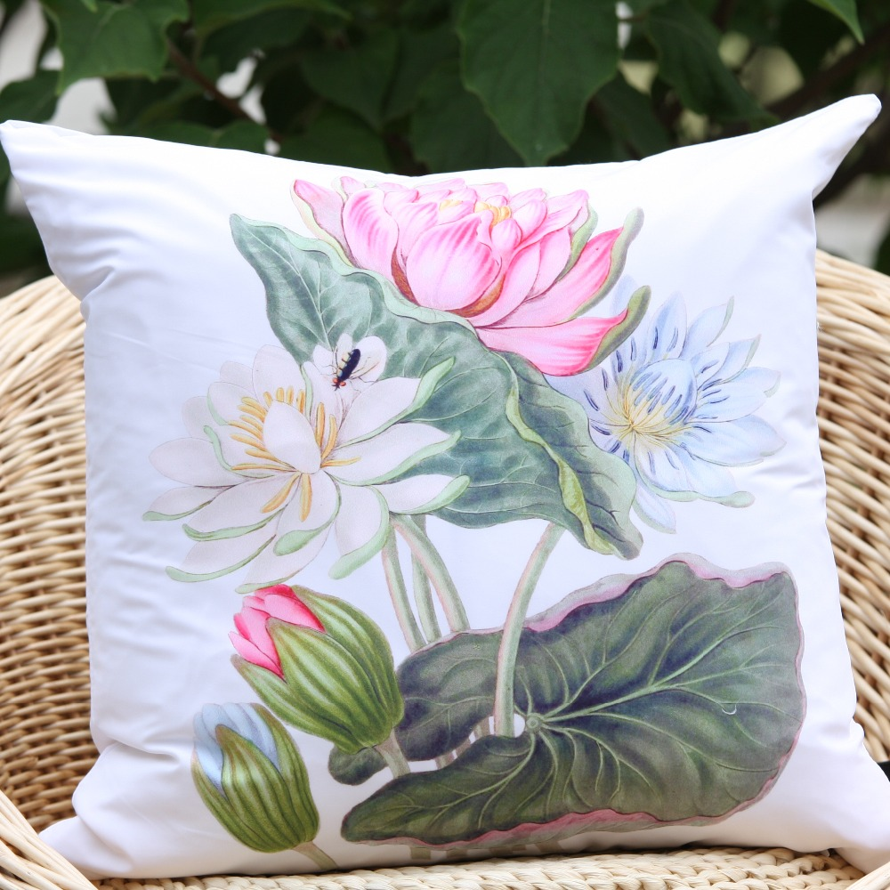 2017 New Arrival Zen Waterlily Lotus Photo Prints Microfiber Decorative Pillow Cover Throw Cushion In From Home Garden On