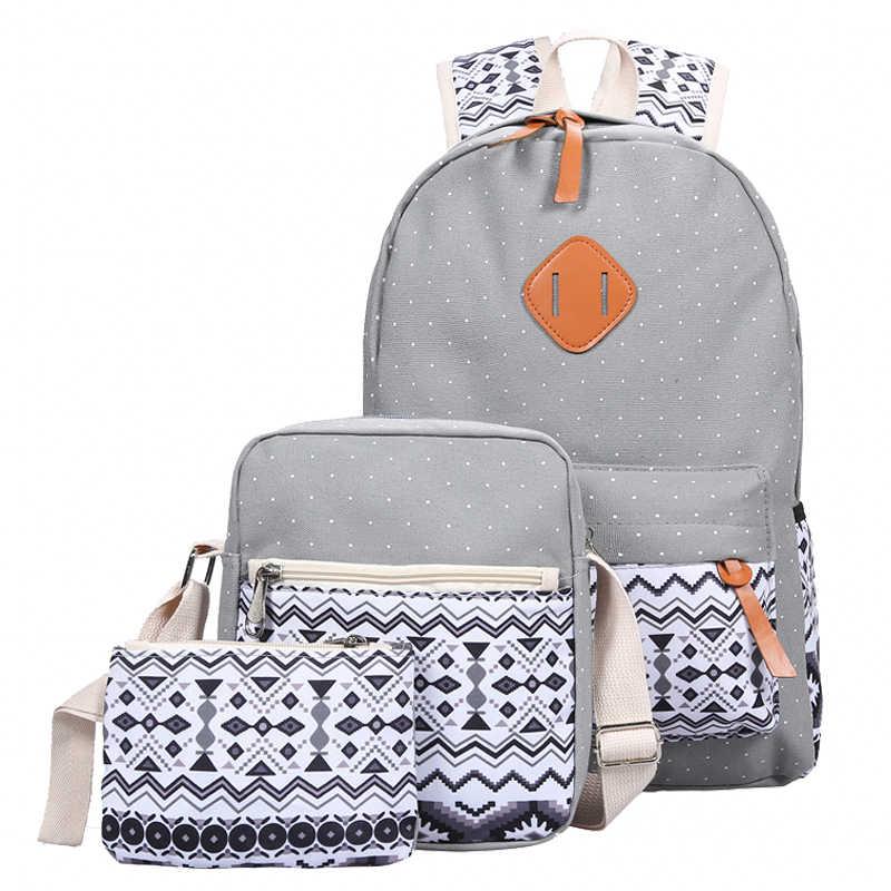 Juego de mochilas y bolsas de lona mochila de impresión para mujeres lindas bolsas de libros ligeras de secundaria para adolescentes