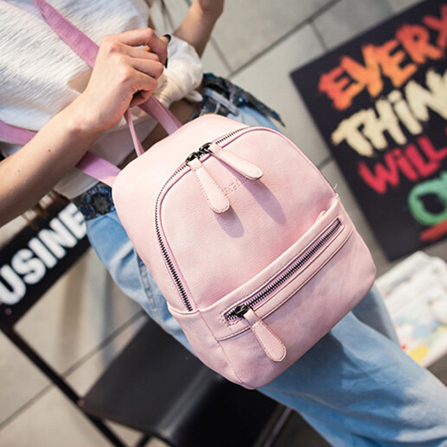 Women Backpack PU Leather College Schoolbag Rucksacks for Teenager Girl Small Travel Backpack mini backpack Bolsa Feminina