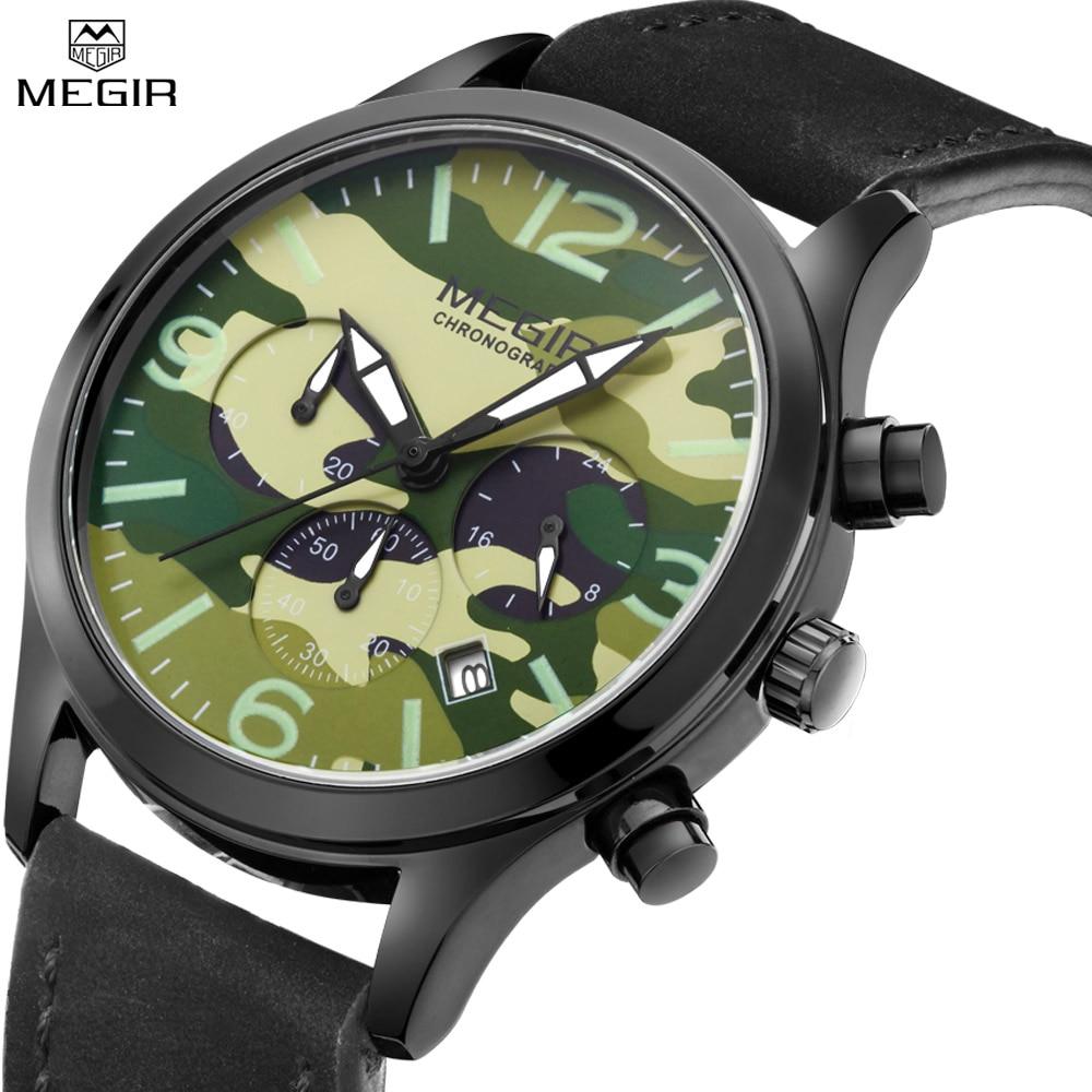 MEGIR Men Chronograph Unique Style Sport Watch Black Leather Camouflage Dial Future Explorers Automatic Outdoor Commando