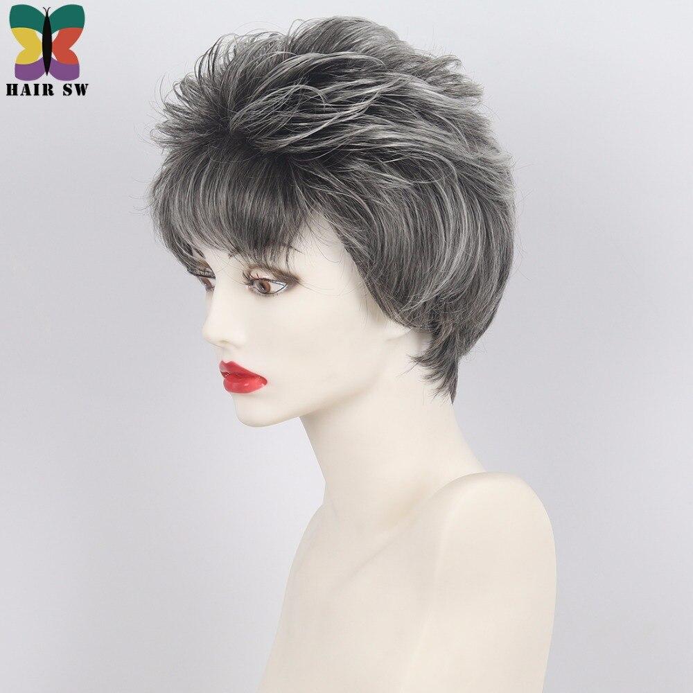 Włosy Sw Krótkie Naturalne Prosto Fryzura Pixie Warstwowa Peruka