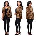 Women Blazers and Jackets 2016 Hot Autumn Leopard Printed Cloak Cape Blazer Fashion Long Sleeve Club Party Outwear Blazer