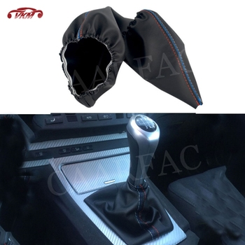 Car Gear Shifter Shift Collars Stitch Gear Shift Boot Cover Dust Cap For BMW 3 Series E30 E34 Z3 E46 E36 image