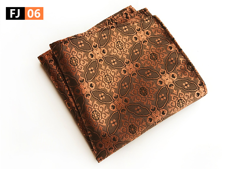 25x25cm Big Size Men Pocket Square Luxury Golden Paisley Hanky