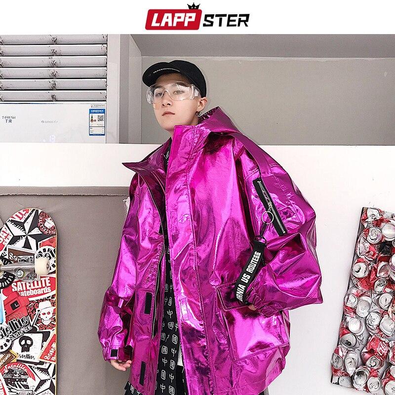 LAPPSTER hombres Streetwear chaqueta de bombardero reflectante 2019 hombres Hip Hop PU chaqueta rompevientos moda INS Varsity chaqueta abrigos