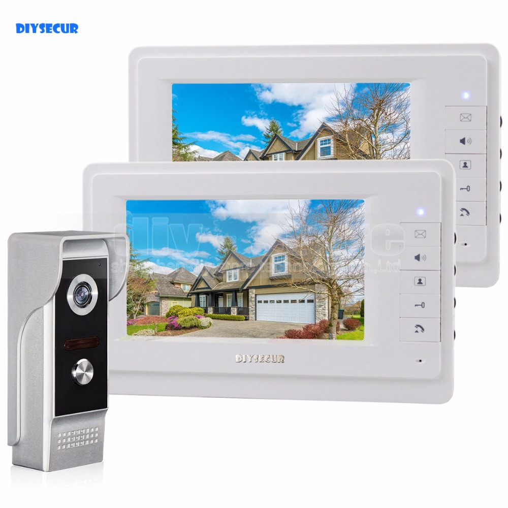 DIYSECUR 7 inch TFT Color LCD Display Video Door Phone Video Intercom Doorbell 700TVLine HD IR Night Vision Camera 1V2 diysecur 1024 x 600 7 inch hd tft lcd monitor video door phone video intercom doorbell 300000 pixels night vision camera rfid