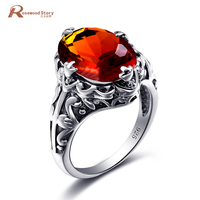 Valentine S Day Gift Authentic 100 925 Sterling Silver Ring For Women Created Amber Birthstone Wedding