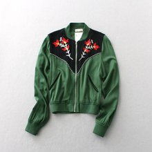2016 New Fashion Vintage Style Coats Women's station in the spring of New Female Wear Army green embroidered Jacket D209