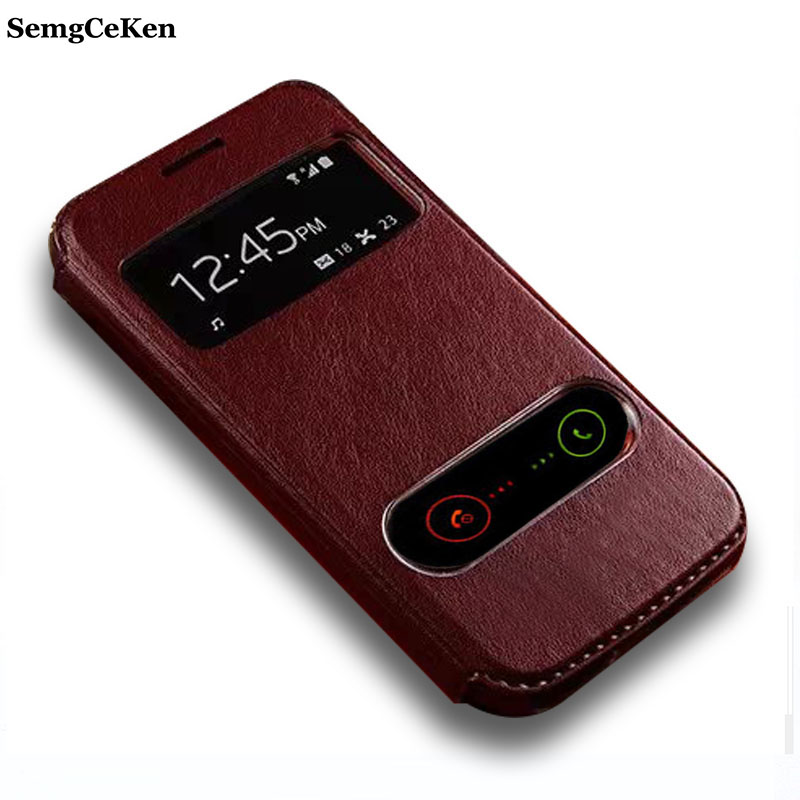 SemgCeKen luxury original leather case for samsung galaxy win i8552 i 8552 pu view phone flip window retro stand cover coque ...